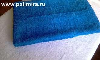 Синие махровое полотенце