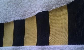 Махровое полотенце с логотипом билайн, логотип в бордюре