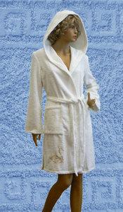 Халат махровый женский укороченный с капюшоном