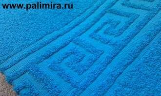 Греческая кайма на васильковом махровом полотенце
